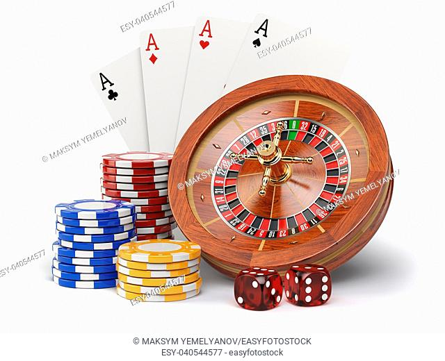 Casino o gambling concept. Roulette, casino chips, cards and dice isolated on white background. 3d illustration