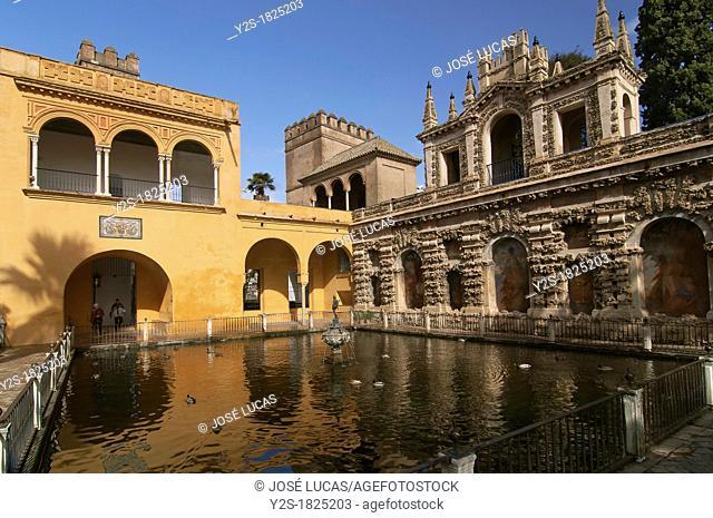 Royal Alcazar, Mercury pond and Grotesque gallery, Seville, Spain
