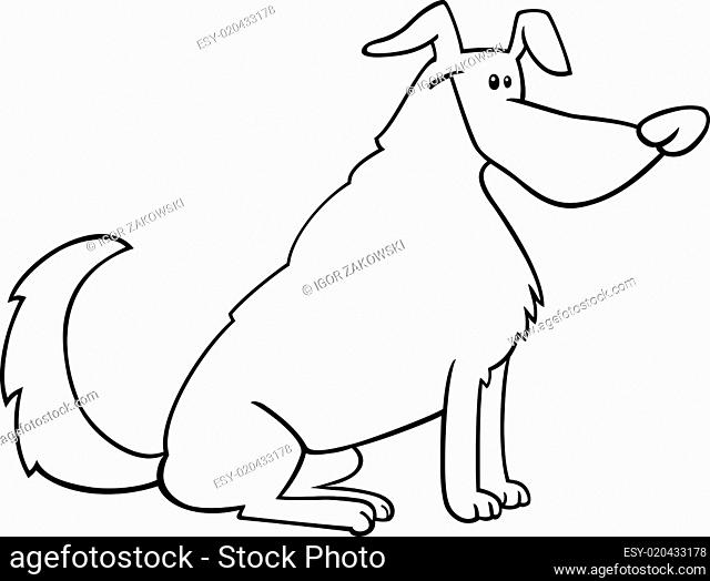 sitting dog cartoon for coloring book