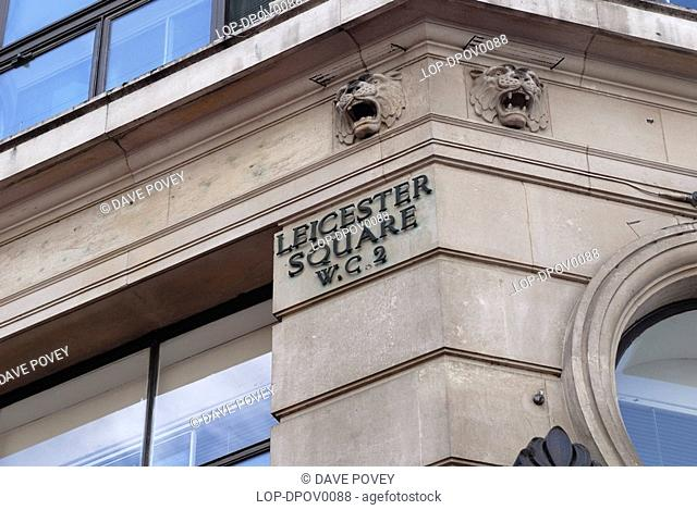England, London, Leicester Square, A detailed view of the Leicester Square street sign in London