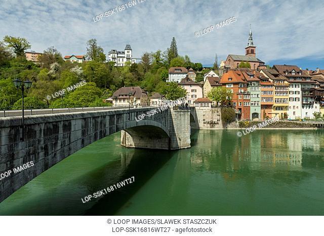 Bridge across Rhine river connecting Switzerland and Germany