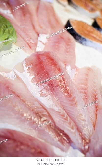 Red mullet fillets and salmon cutlets on ice