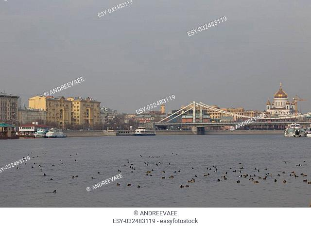 MOSCOW - March 2014: Crimean bridge across the Moscow River where many ducks swim
