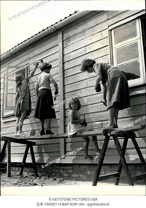 1962 - Girls don't favour digging, but painting is fun even for a tiny tot like Tina Fairwick. with her left to right are Sylvia Read