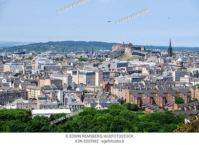 An elevated view of the iconic landmarks, rooftops and the cityscape of Edinburgh, Scotland, UK