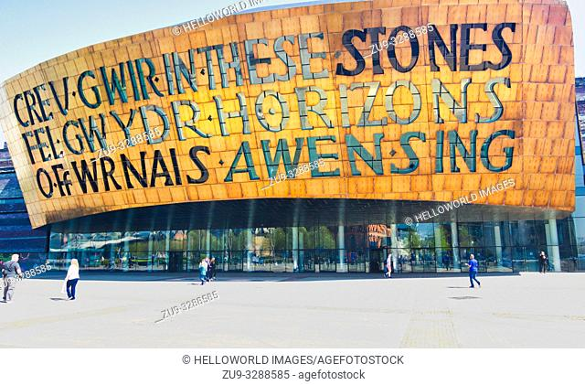 Wales Millennium Centre, Cardiff Bay, Cardiff, Wales, United Kingdom. Inscribed on the front of the dome above the main entrance is poetry by Welsh poet Gwyneth...