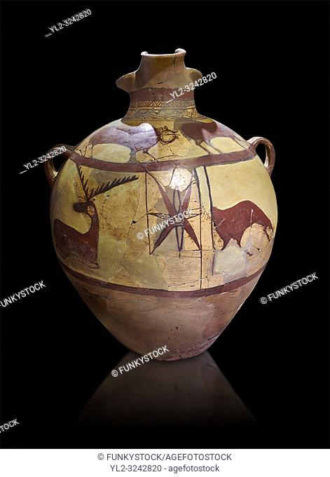 Phrygian terra cotta large jug with handles, decorated with animals, from Gordion. Phrygian Collection, 6th century BC - Museum of Anatolian Civilisations...