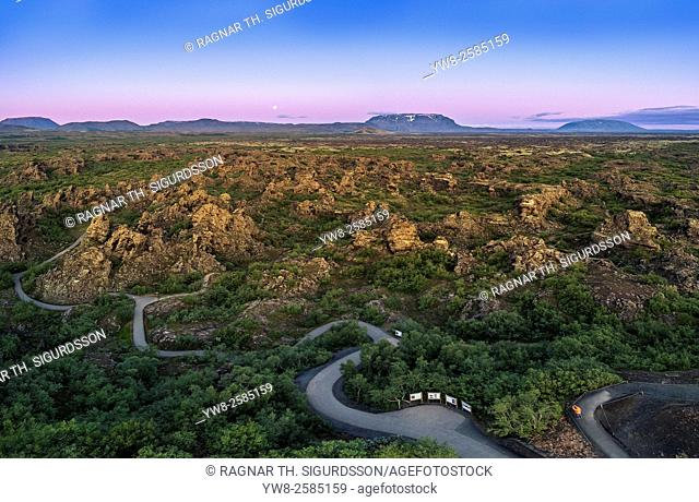 Dimmuborgir lava landscape-lava fields, volcanic caves and rock formations, near Lake Myvatn, Iceland. Image shot with a drone