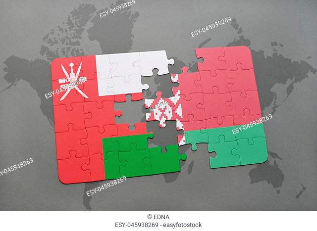puzzle with the national flag of oman and belarus on a world map background. 3D illustration