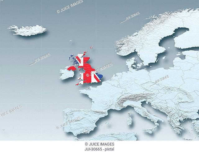 United Kingdom, flag, map, Western Europe, grey, physical, political