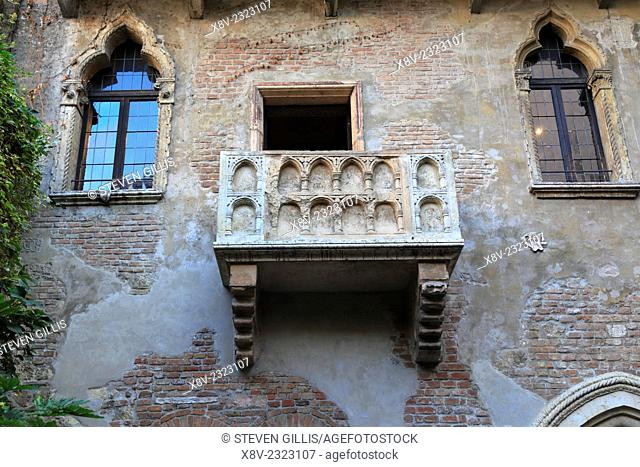 Marble balcony of Casa di Giulietta, Juliet's House, Verona Italy, Veneto