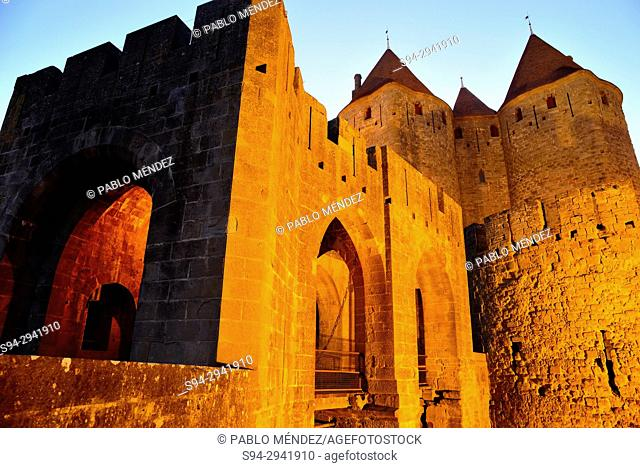 Gate of Narbonne or Porte Narbonnaise. Entry to the city of Carcassone, Languedoc-Roussillon, France