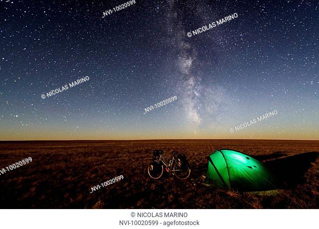 Camping under the stars in the Gobi desert, Mongolia