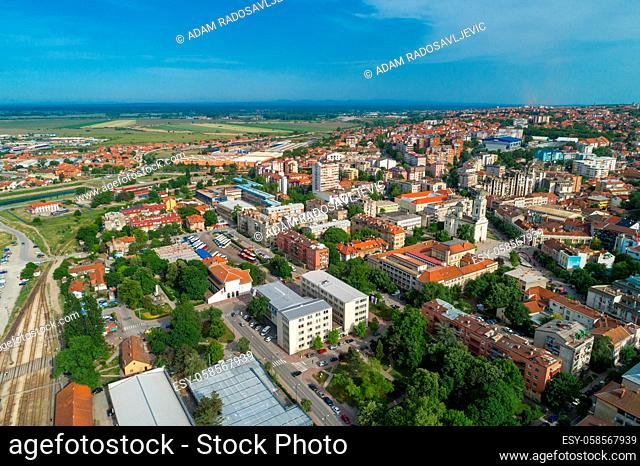 Smederevo, aerial drone view of city in Serbia, administrative center of the Danubian District