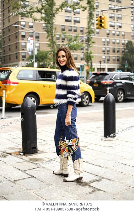 posing on the street outside of the Michael Kors show during New York Fashion Week - Sept 12, 2018 - Photo: Runway Manhattan ***For Editorial Use Only*** |...