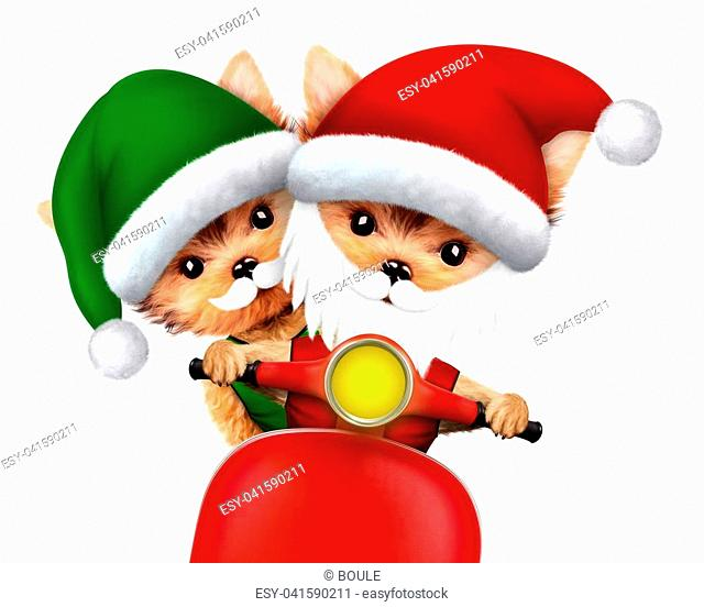 Cute Dog Santa and Elf on a scooter. New Year and Christmas concept. Realistic 3D illustration