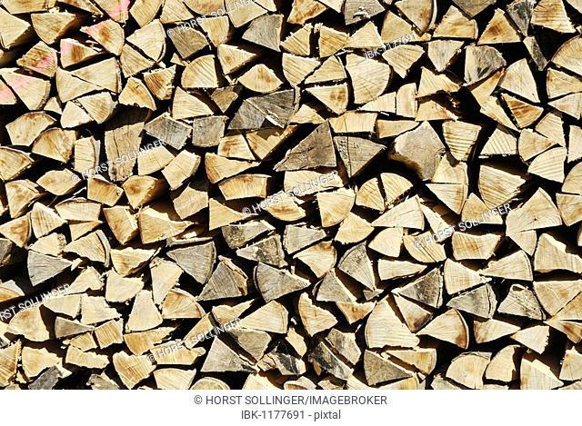 Stack of firewood, stacked to dry