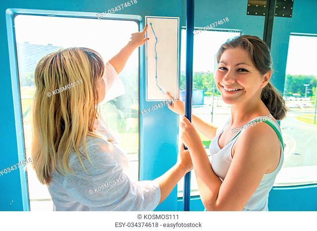 Two passenger of public transport study traffic scheme