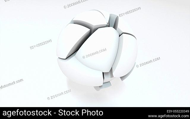 3d render of transformation of a scope into parts on a pure white background. Computer generated abstract background
