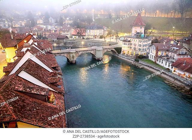 Bern Switzerland-DECEMBER 5, 2015: Night panorama of Bern Christmas time on December 5, 2015 in Bern, Switzerland. Aare river and bridge