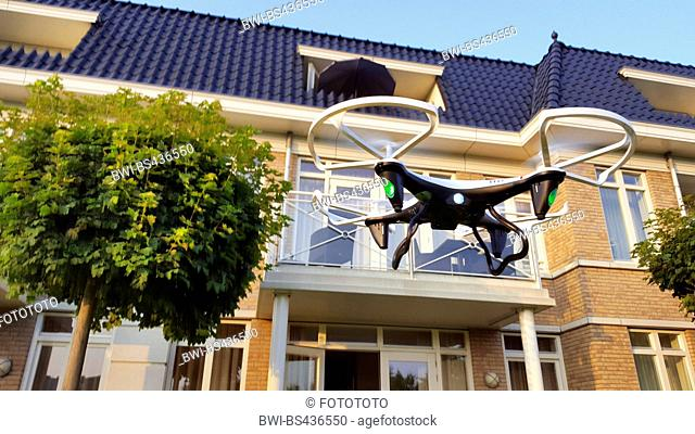 drone starting in a residental area, Netherlands