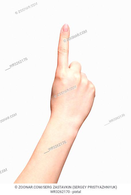 Female hands with woman's professional natursl pink nails manicure isolated on white