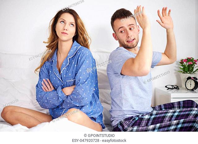 Couple having arguments at the morning
