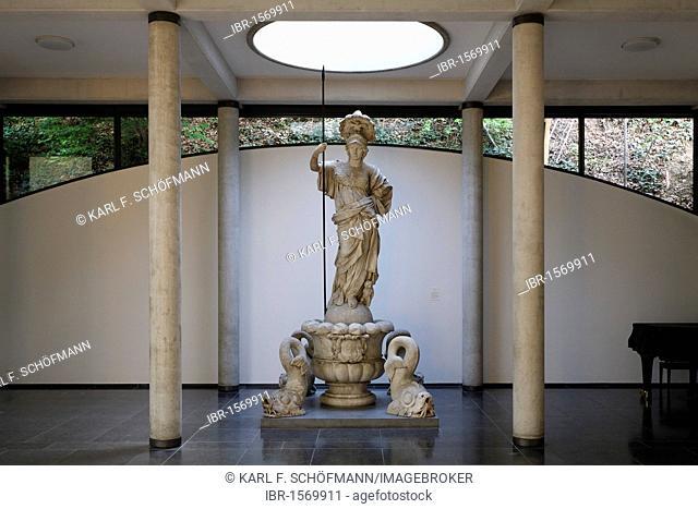 Pallas Athena statue in a contemporary gallery space, Kurhaus Kleve art museum, Kleve, Niederrhein region, North Rhine-Westphalia, Germany, Europe