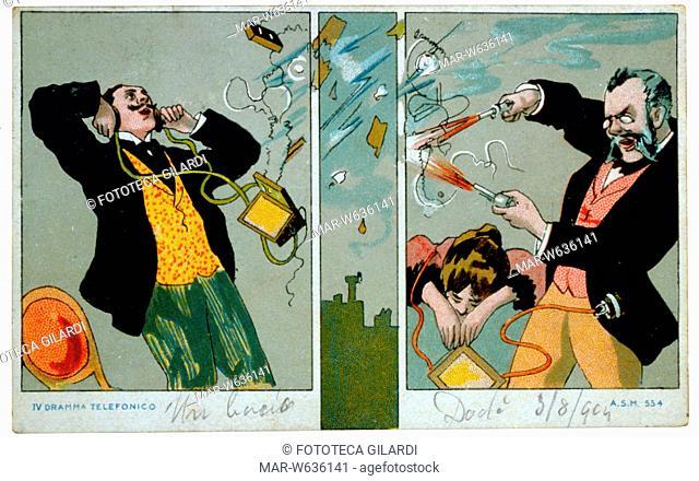CARTOLINA POSTALE -Il dramma telefonico-, quarta e ultima scena di una sequenza umoristica: il marito inferocito spara con due pistole alla linea telefonica