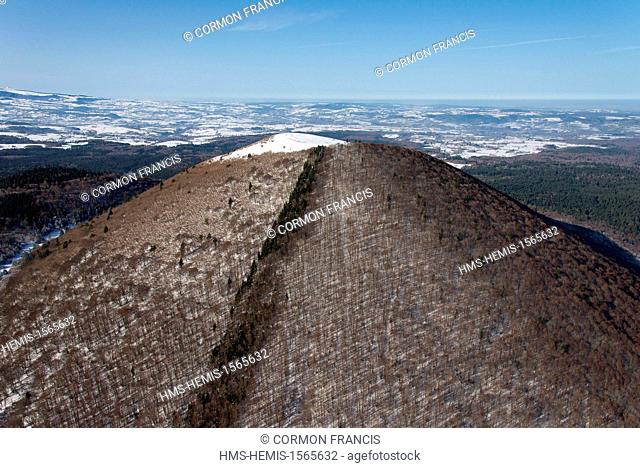 France, Puy de Dome, Regional Natural Park of the Volcanoes of Auvergne, Chaine des Puys, Orcines, snow-covered Puy de Come volcano (aerial view)