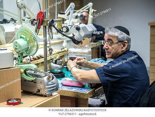 Worker in Yvel Design Center jewellery factory in Motza neighbourhood of Jerusalem city, Israel