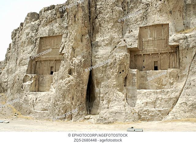 Iran. Naqsh-e Rustam- General View of the rock-cut tombs