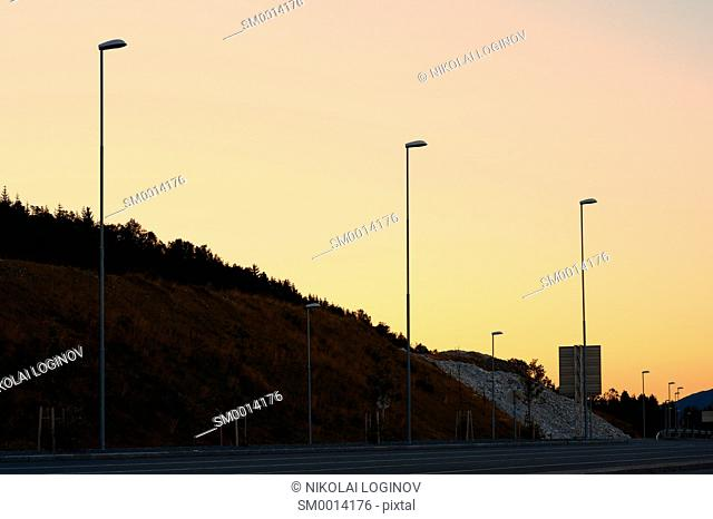 Evevning lampposts in Norway background hd