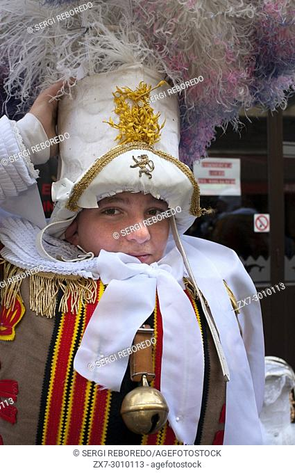 Demostration of carnaval of Binche dresses, Brussels, Belgium. UNESCO World Heritage Parade Festival. Belgium