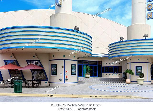 Art Deco designed cinema, Celebration, Osceola County, Florida, USA, America