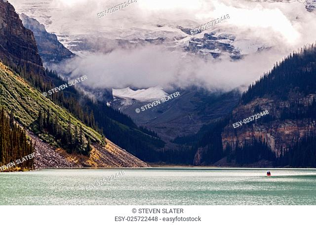 The impressive mountains that surround and feed glacier water into Lake Louise