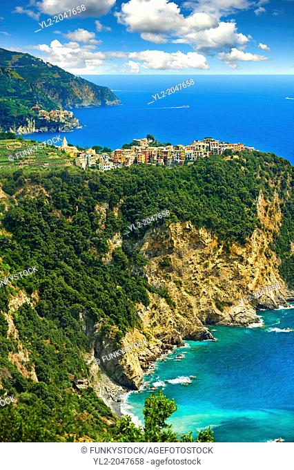 Hilltop Village of Corniglia, Cinque Terre National Park, Ligurian Coast, Italy