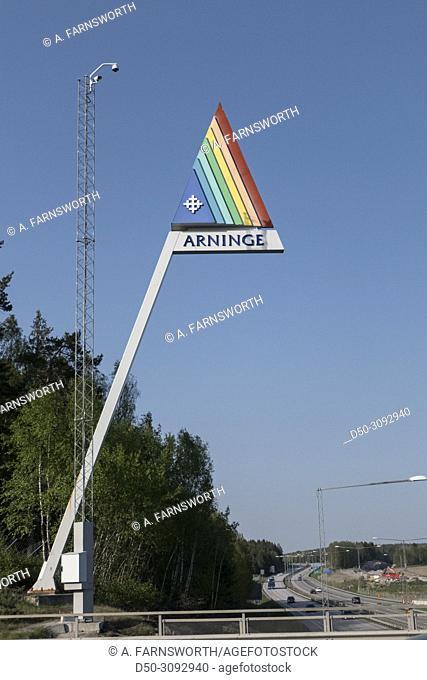 Arninge, Sweden May 11, 2018 Road sife sign for the municipality of Arninge