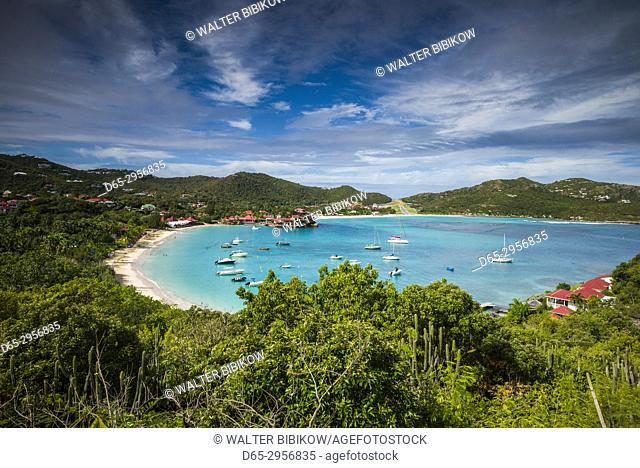 French West Indies, St-Barthelemy, St-Jean, elevated view of Baie St-Jean