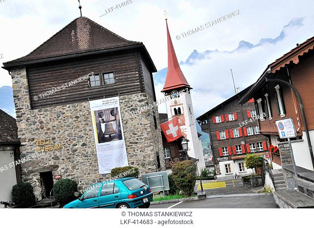 Houses and church at the village of Buerglen, canton Uri, Switzerland, Europe