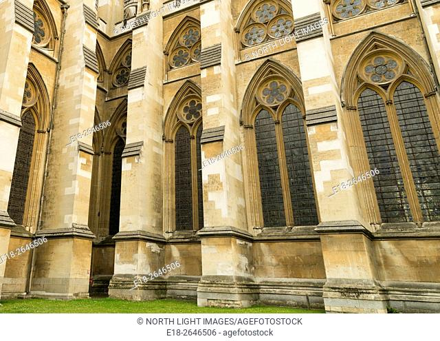 UK, England, London. Westminster Abbey. Buttresses shoring the exterior wall of the cathedral