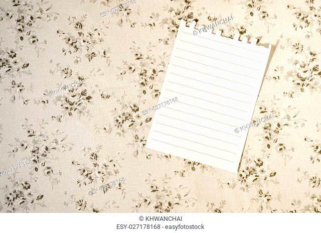 A white empty sheet on tablecloth for write food recipes