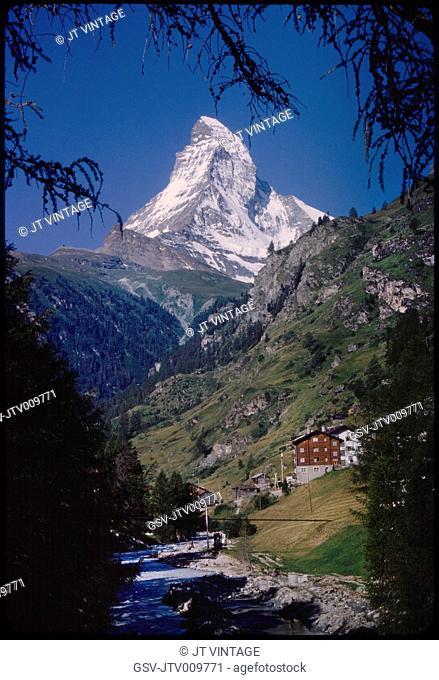 Matterhorn Mountain and Valley, Zermatt, Switzerland, 1964