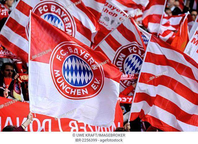 Waving flags, Bayern Munich fans, DFB Cup final, BVB or Borussia Dortmund vs FC Bayern Munich 5-2, 05/12/2012, Olympic Stadium, Berlin, Germany, Europe