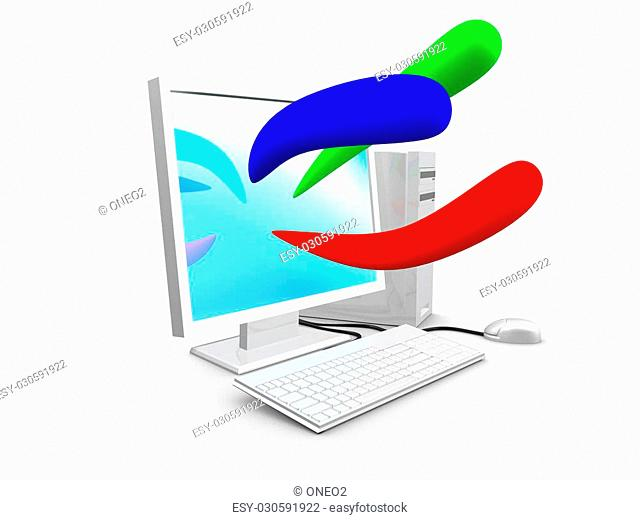 3d image, Computer with basic color, blue, red, green