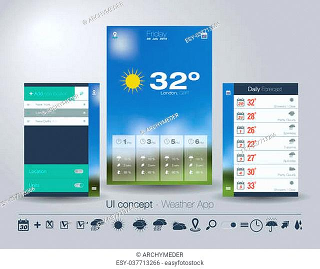 UI concept for Weather App. Editable vector format