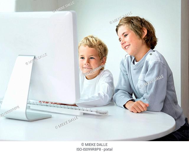 Brothers looking at computer screen