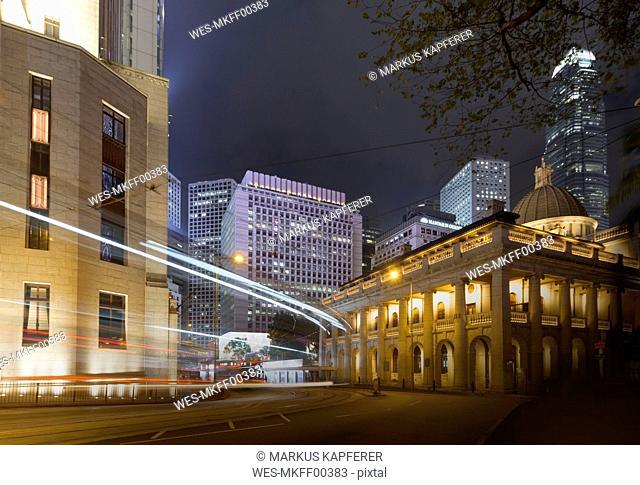 China, Hong Kong, Des Voux Road at night, light trails