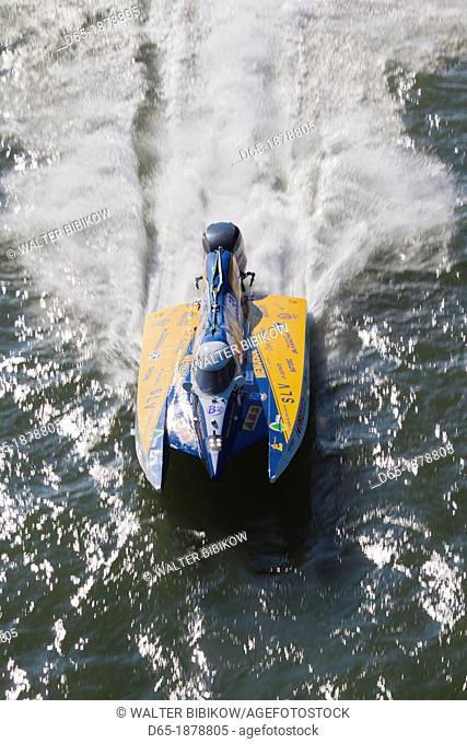 France, Normandy Region, Seine-Maritime Department, Rouen, hydroplane race, Seine River, elevated view