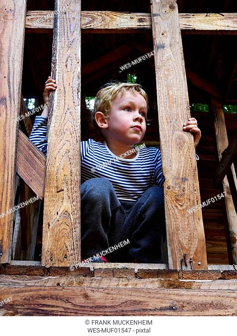 Portrait of littleboy crouching on climbing frame
